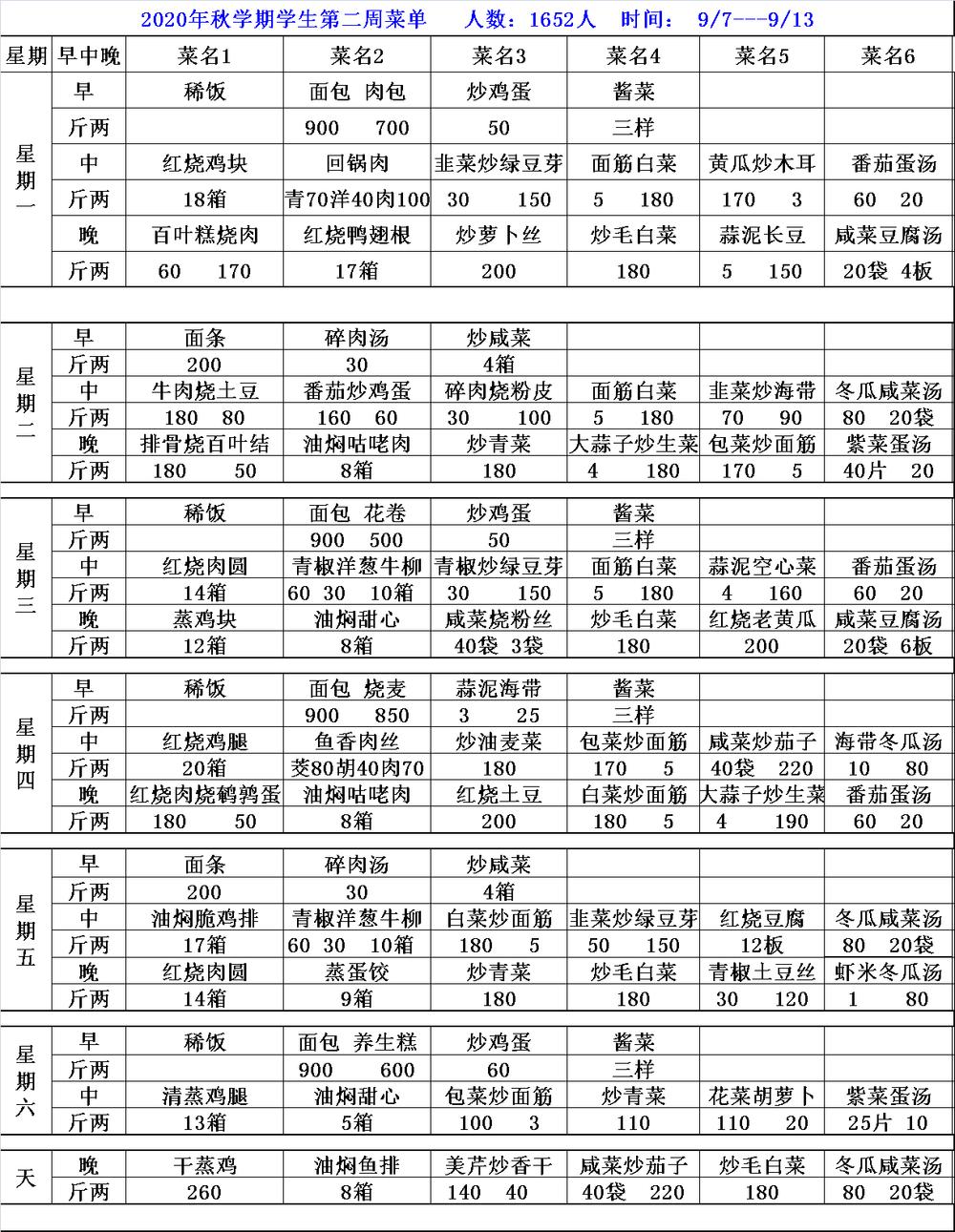 2020秋学期学生第二周周菜单9.7-9.13 .png