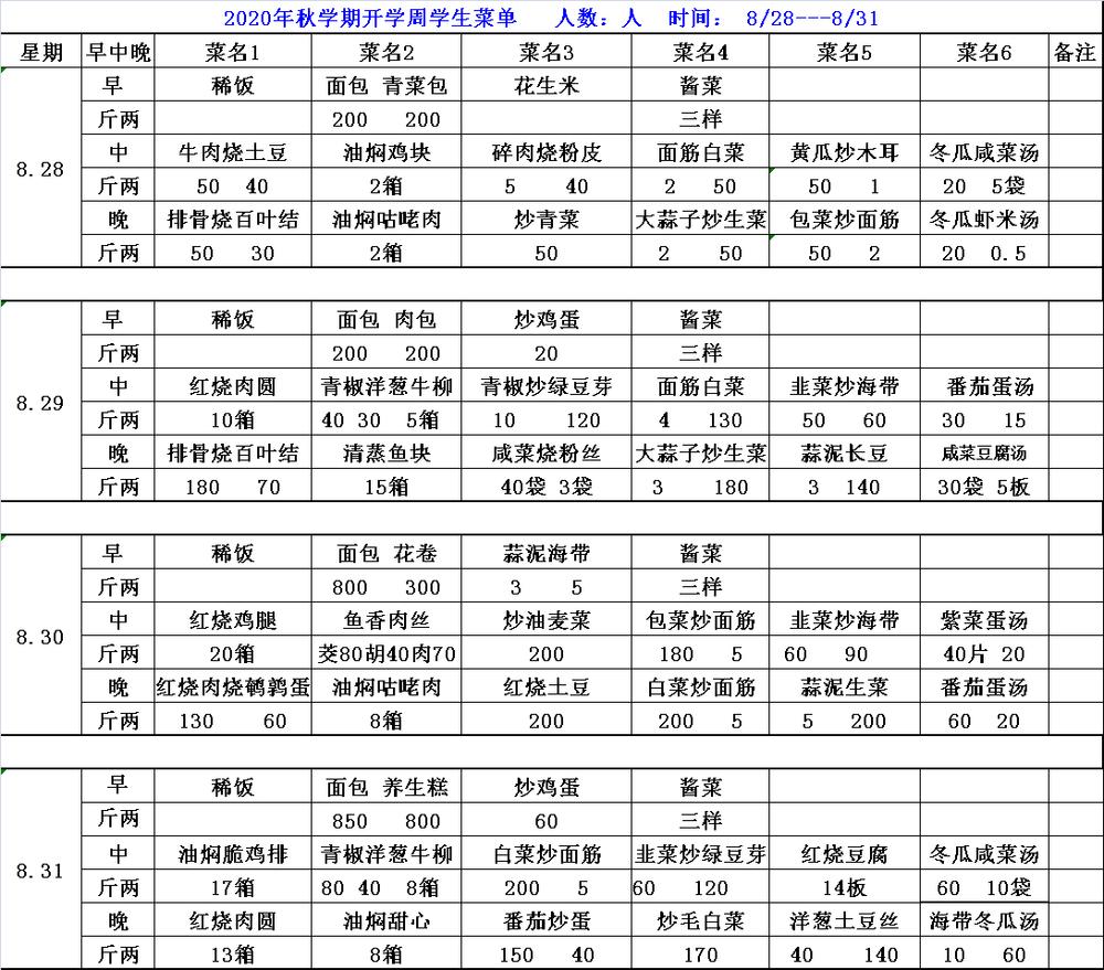 2020秋学期开学周学生菜单8.28-8.31.png